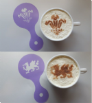 Welsh Dragon & Three Feather coffee cup / cappuccino stencils    reusable many times  cafe rugby sport Wales rugby 6 nations football
